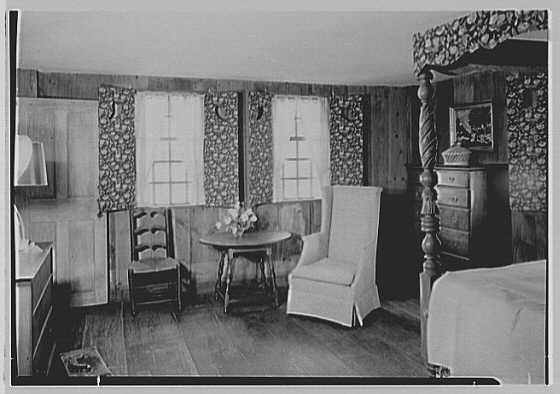 Gilbert house, residence in Sturrowtown, Massachusetts. Bedroom, without figure