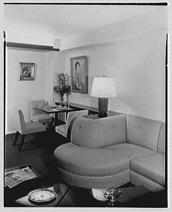 S. Kux, residence at 11 Riverside Dr., New York City. View to sofa and dining room