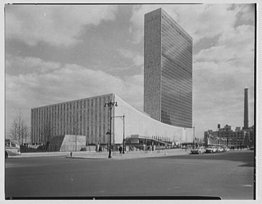 United Nations. From northwest on 1st Ave.
