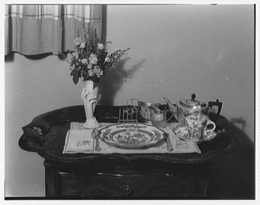 Mrs. Esther Wheeler, book photos at 1506 Woodside Ave., Baldwin, Long Island. Breakfast tray