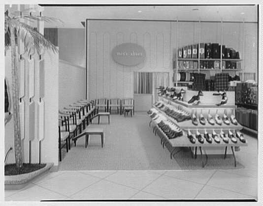 Burdine's department store, business in 163rd St. Shopping Center, Miami, Florida. Men's shoe department