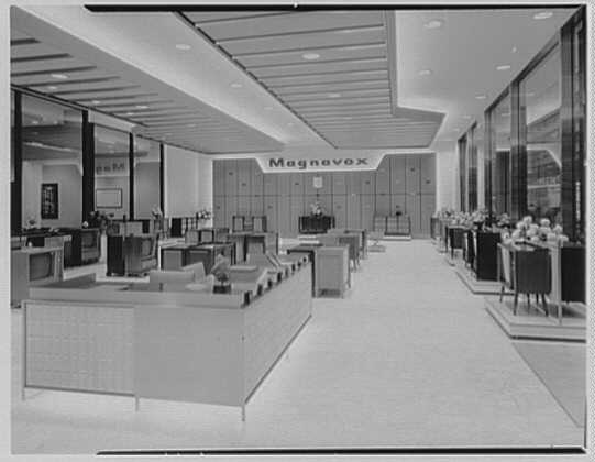 Magnavox, business at Madison Ave. and 48th St., New York City. General view to Magnavox wall