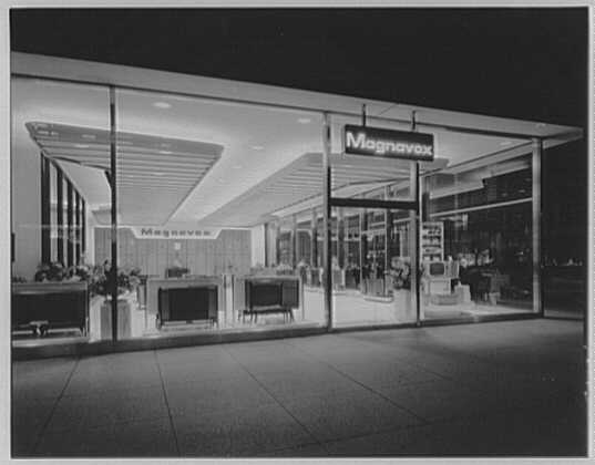 Magnavox, business at Madison Ave. and 48th St., New York City. Outside view from 48th St.