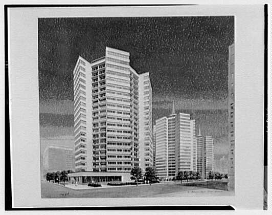 Fellheimer & Wagner. Copy of rendering, hexagonal apartment houses