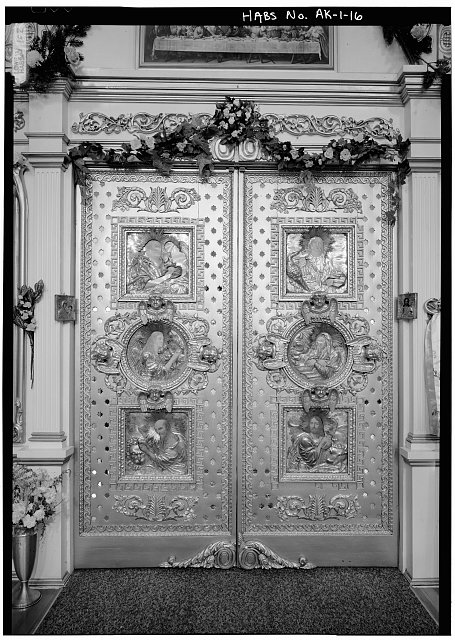 16.  INTERIOR, NAVE, ICONOSTAS, DETAIL OF ROYAL DOORS - Saint Michael's Cathedral, Lincoln Street, Sitka, Sitka Borough, AK