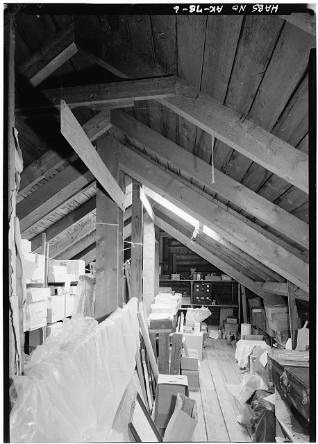 6.  INTERIOR, ATTIC, SHOWING SUPPORTS FOR STORE CEILING - Northern Commercial Company, Store, 220 Front Street, Eagle, Southeast Fairbanks Census Area, AK