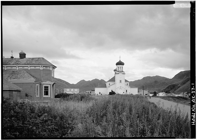 1.  BISHOP'S HOUSE, LEFT, AND NORTHWEST FRONT OF CHURCH - Holy Ascension Russian Orthodox Church & Bishop's House, Unalaska Island, Unalaska, Aleutian Islands, AK