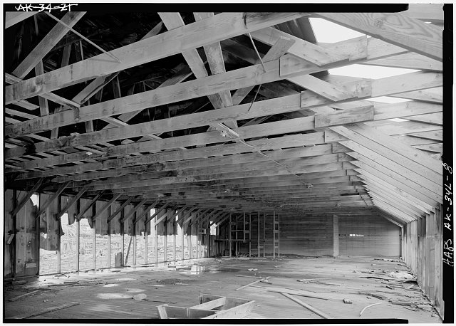 8.  INTERIOR, SECOND FLOOR, SHOWING ROOF FRAMING - Naval Operating Base Dutch Harbor & Fort Mears, Warehouse, Unalaska, Aleutian Islands, AK