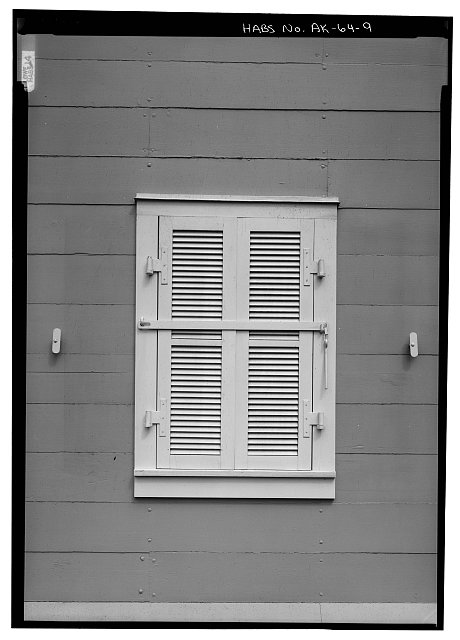 9.  SOUTH FRONT, DETAIL OF WINDOW, SHUTTERS CLOSED - Russian Bishop's House, 501 Lincoln Street, Sitka, Sitka Borough, AK