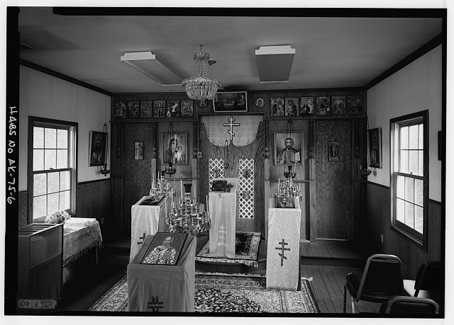 6.  INTERIOR, NAVE, LOOKING EAST AT ICONOSTAS - St. Nicholas Russian Orthodox Church, Sand Point, Aleutians East Borough, AK