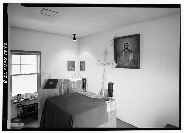 8.  INTERIOR, SANCTUARY, LOOKING NORTHEAST AT ALTAR - St. Nicholas Russian Orthodox Church, Sand Point, Aleutians East Borough, AK