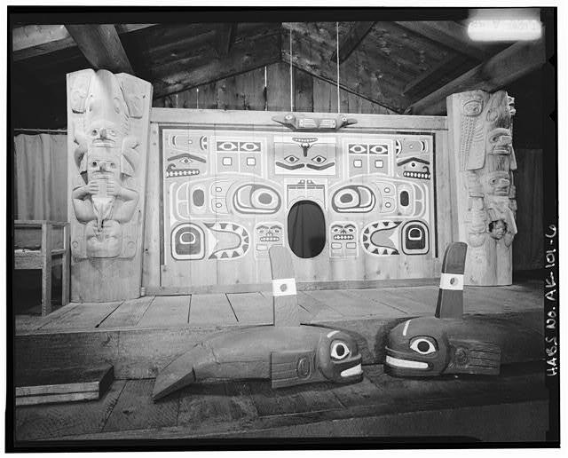 6.  INTERIOR, SCREEN AND TOTEMS - Chief Shakes House, Shakes Island, Wrangell, Wrangell-Petersburg Census Area, AK