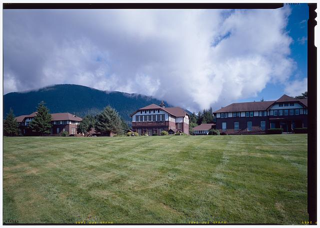 Perspective view across quad from left to right; north pacific hall, Allen Auditorium, and Whitmore Hall - Sheldon Jackson College, Lincoln Street, Sitka, Sitka Borough, AK
