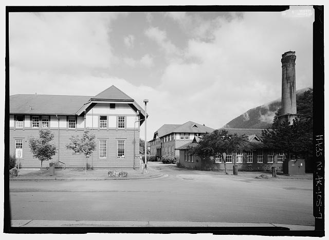 East entrance to quad and Frazier Hall, laundry building and Whitmore Hall - Sheldon Jackson College, Lincoln Street, Sitka, Sitka Borough, AK