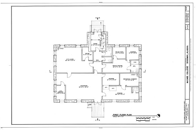 First Floor Plan - McCabe College, End of Seventh Avenue, East of Broadway Avenue, Skagway, Skagway, AK