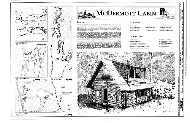 Cover Sheet - McDermott Cabin, Town of Dyea (historical town site), Skagway, Skagway, AK