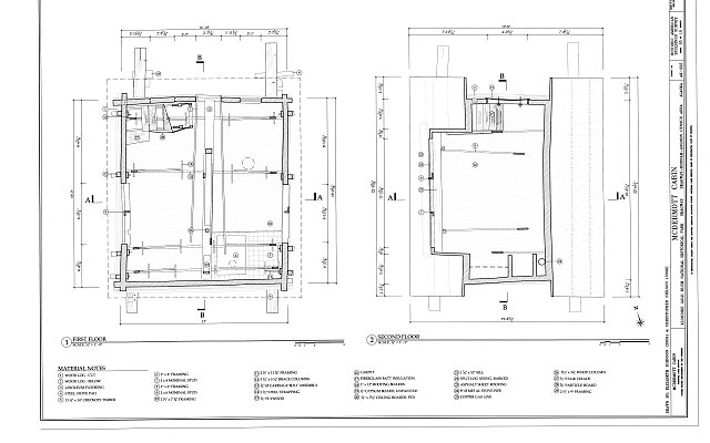 First & Second Floor Plans - McDermott Cabin, Town of Dyea (historical town site), Skagway, Skagway, AK