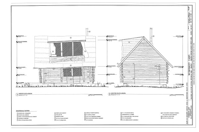 West & South Elevations - McDermott Cabin, Town of Dyea (historical town site), Skagway, Skagway, AK