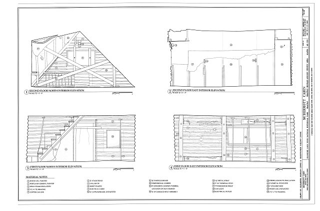 Interior Elevations - McDermott Cabin, Town of Dyea (historical town site), Skagway, Skagway, AK