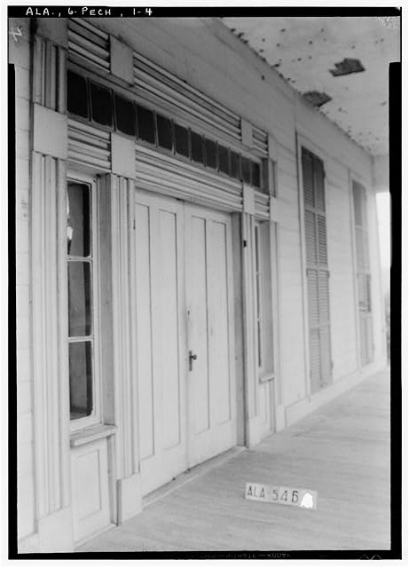 8.  Historic American Buildings Survey W. N. Manning, Photographer, July 19, 1935. CLOSE UP OF FRONT DOOR TREATMENT - Seale-Mosley House, County Road 40 (moved from original location), Peachburg, Bullock County, AL