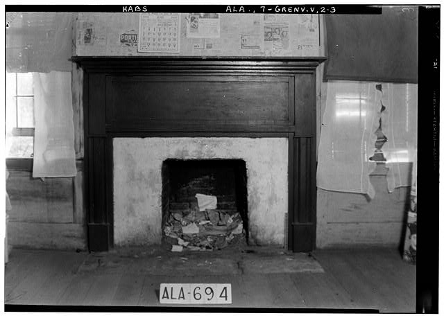 3.  Historic American Buildings Survey W. N. Manning, Photographer, June 12, 1935. FIREPLACE (S. W. ROOM) 1st. FLOOR - Tavern & Stage Inn, County Road 58, Greenville, Butler County, AL