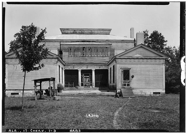 3.  Historic American Buildings Survey Alex Bush, Photographer, 1935 REAR (SOUTH) AND VIEW OF COURT - Cunningham Plantation, Old Memphis Road (Gaines Trace Road), Cherokee, Colbert County, AL