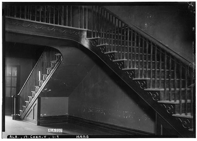 9.  Historic American Buildings Survey Alex Bush, Photographer, April 29, 1936 VIEW OF STAIRS ON W. SIDE OF HALL, FIRST FLOOR - Cunningham Plantation, Old Memphis Road (Gaines Trace Road), Cherokee, Colbert County, AL