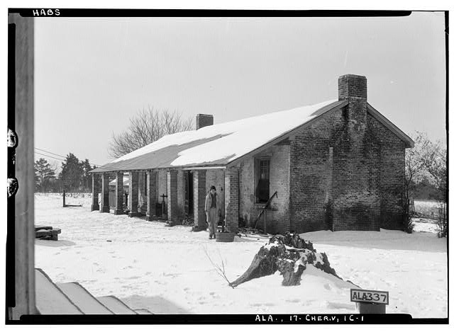 28.  Historic American Buildings Survey Alex Bush, Photographer, January 25, 1935 OLD SLAVE QUARTERS AND KITCHEN - Cunningham Plantation, Old Memphis Road (Gaines Trace Road), Cherokee, Colbert County, AL