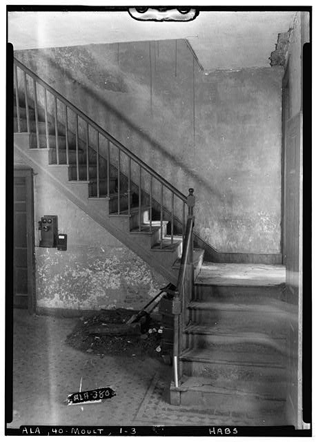 3.  Historic American Buildings Survey Alex Bush, Photographer, July 15, 1935 STAIRS AT FRONT, ON SIDE OF HALL - Lawrence County Courthouse, Courthouse Square bounded by Main Street, Lawrence Street, Market Street & Court Street, Moulton, Lawrence County, AL