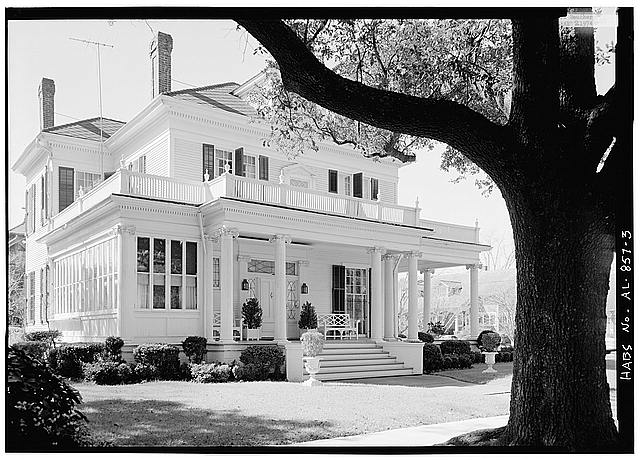 3.  OBLIQUE VIEW FROM NORTHEAST OF NORTH (FRONT) ELEVATION - Schley-Rutherford House, 1263 Selma Street, Mobile, Mobile County, AL