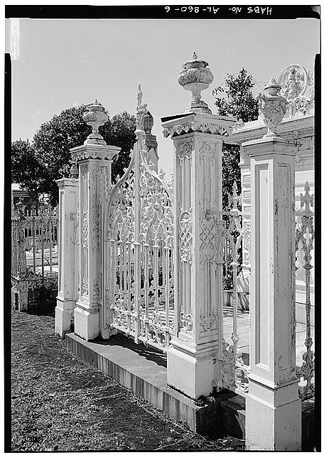 6.  DETAIL OF GATE AND FENCE, SHOWING IRON URNS ATOP GATE POSTS - Slatter Family Tomb, Magnolia Cemetery, Virginia Street, Mobile, Mobile County, AL