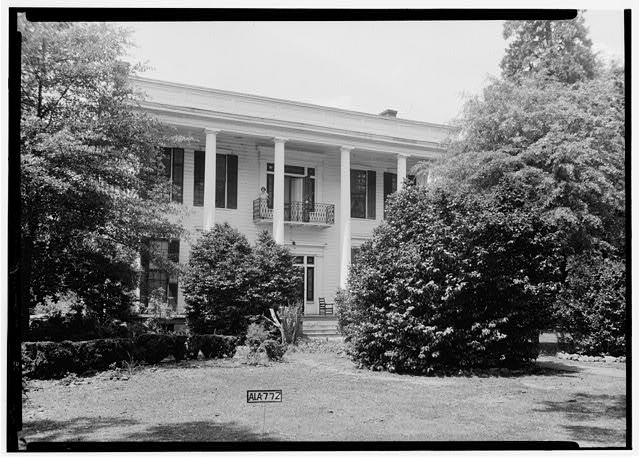 6.  Historic American Buildings Survey Alex Bush, Photographer, April 24, 1935 FRONT VIEW S.E. (FACES EAST-trees been cut) - Judge Porter King House, 1001 Washington Street, Marion, Perry County, AL