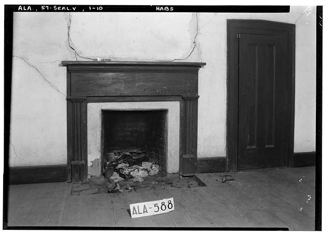 10.  Historic American Buildings Survey W. N. Manning, Photographer, July 18, 1935 MANTEL AND CLOSET DOOR, S. W. ROOM UPSTAIRS - Bass-Perry House, U.S. Highway 431, Seale, Russell County, AL