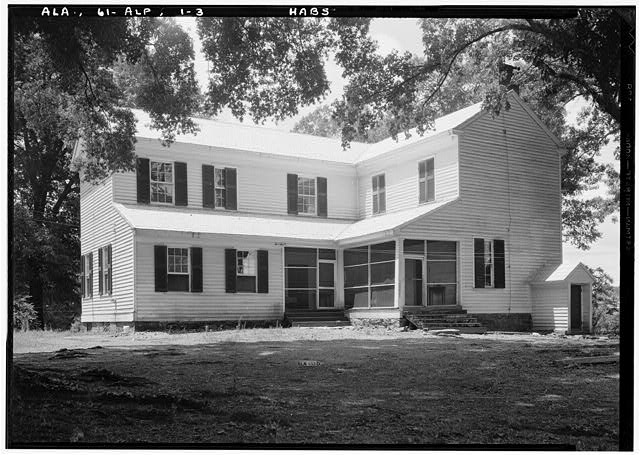 3.  Historic American Buildings Survey E. W. Russell, Photographer, June 18, 1937 REAR VIEW LOOKING SLIGHTLY SOUTHWEST - Alpine, County Road 46, Alpine, Talladega County, AL