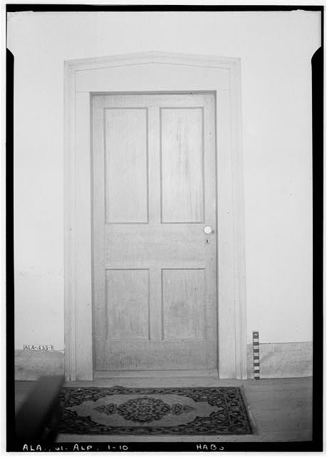 10.  Historic American Buildings Survey E. W. Russell, Photographer, June 18, 1937 ROOM DOOR (BETWEEN FRONT & REAR ROOMS) WEST SIDE OF HOUSE - Alpine, County Road 46, Alpine, Talladega County, AL