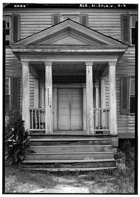 4.  Historic American Buildings Survey E. W. Russell, Photographer, June 17, 1937 CLOSE UP OF FRONT PORTICO AND ENTRANCE. - Wewoka, Riser Mill Road, Sylacauga, Talladega County, AL