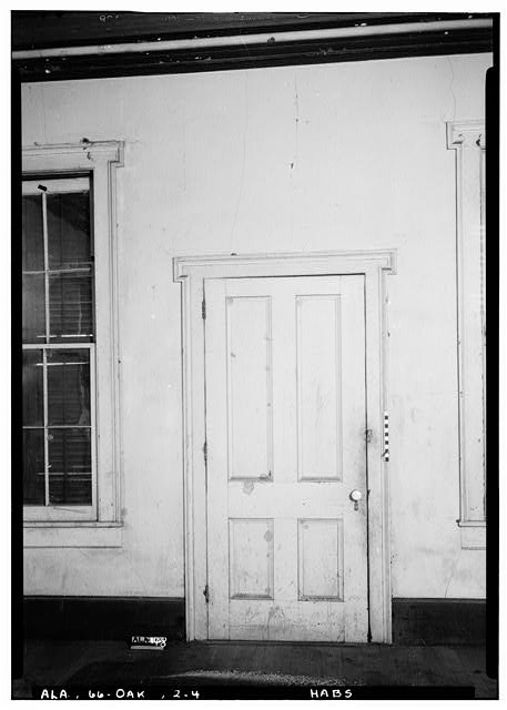 4.  Historic American Buildings Survey Alex Bush, Photographer, March 24, 1937 DOOR IN WEST WALL OF SOUTH ROOM OF OFFICE - Fox-Harris-Jones House, State Road 21, Oak Hill, Wilcox County, AL