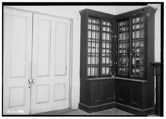 8.  Historic American Buildings Survey Alex Bush, Photographer, March 24, 1937 DOUBLE DOOR IN NO. WALL OF SOUTH ROOM OF OFFICE - Fox-Harris-Jones House, State Road 21, Oak Hill, Wilcox County, AL
