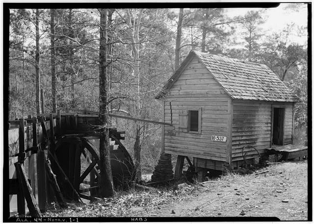 1.  Historic American Buildings Survey W. N. Manning, Photographer, March 31st, 1934. MILL RACE AND MILL. - Le Sueur's Mill, Ropes Creek, Notasulga, Macon County, AL