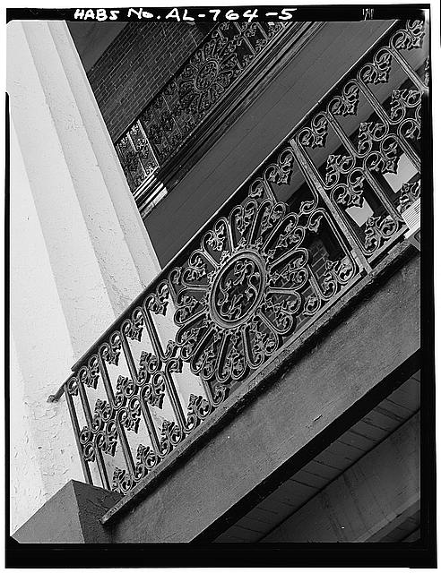 5.  DETAIL OF EXTERIOR IRON RAILING, FOUND ON SECOND AND THIRD FLOOR BALCONIES OF FRONT AND REAR ELEVATIONS - Talladega College, Swayne Hall, Talladega, Talladega County, AL