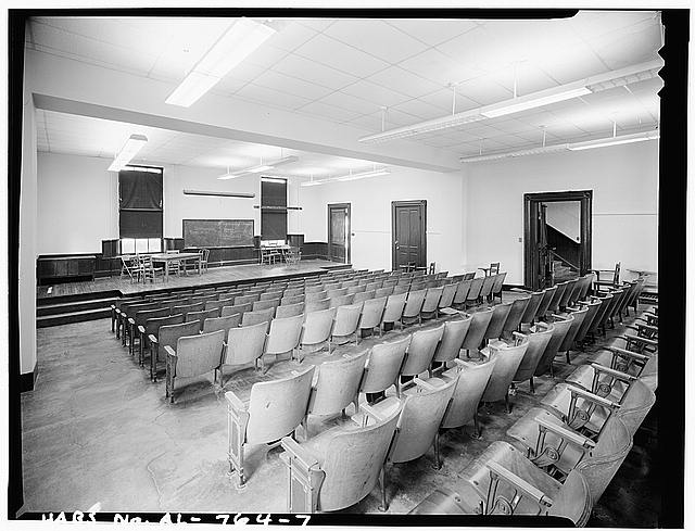 7.  FIRST FLOOR AUDITORIUM, FROM SOUTHEAST CORNER, LOOKING WEST (NOTE EAST STAIRWELL TO THE RIGHT OF THIS ROOM) - Talladega College, Swayne Hall, Talladega, Talladega County, AL