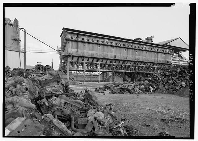 SCRAP YARD/BAG HOUSE FACING SOUTHEAST. - United States Pipe & Foundry Company Plant, 2023 St. Louis Avenue at I-20/59, Bessemer, Jefferson County, AL