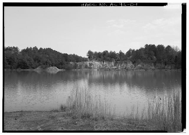 EXTERIOR VIEW, LOOKING NORTHWEST OF LAKE, A FORMER BROWN ORE MINING PIT. - Shelby Iron Works, Chain Gang (Blue) Hole Lake, County Road 42, Shelby, Shelby County, AL