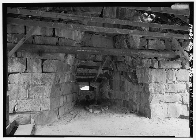INTERIOR VIEW OF EAST (FRONT) SINGLE FURNACE. - Tannehill Furnace, 12632 Confederate Parkway, Tannehill Historical State Park, Bucksville, Tuscaloosa County, AL
