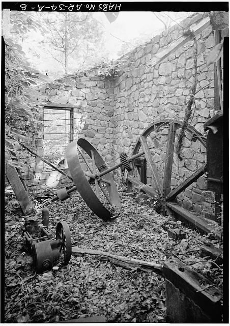 8.  GENERAL VIEW OF INTERIOR OF RUINS SHOWING GEAR TRANSMISSION EQUIPMENT - Ricks Estate, Electric Power Generating Mill (Ruin), Stone Bridge Road, Hot Springs, Garland County, AR