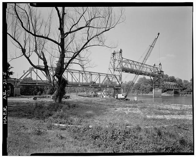 5.  THREE-QUARTER VIEW OF BRIDGE, LIFT SPAN IN RAISED POSITION, LOOKING NORTHEAST - White River Bridge, Spanning White River at U.S. Highway 70, De Valls Bluff, Prairie County, AR