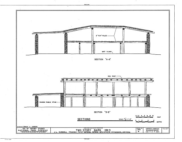 HABS ARIZ,1-GANA,1C- (sheet 7 of 7) - J. L. Hubbell Trading Post, Two-Story Barn, Navajo Indian Reservation, near State Route 3, Ganado, Apache County, AZ