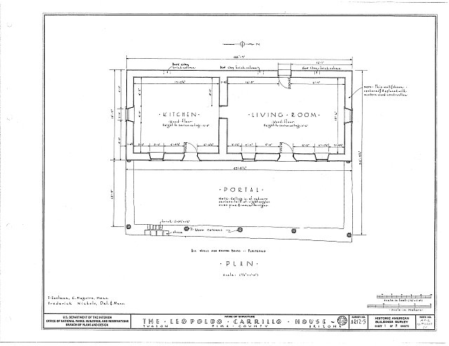 HABS ARIZ,10-TUCSO,1- (sheet 1 of 5) - Leopoldo Carrillo House, 1005 Mission Avenue, Tucson, Pima County, AZ