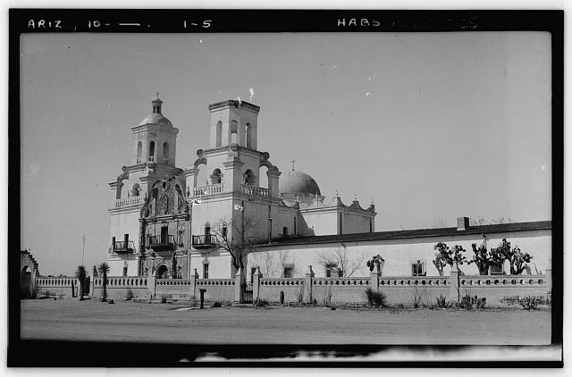 5.  Historic American Buildings Survey, John P. O'Neill, Photographer March 3, 1937 FRONT ELEVATION - San Xavier del Bac Mission, Mission Road, Tucson, Pima County, AZ