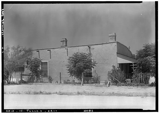 1.  Historic American Buildings Survey Donald W. Dickensheets, Photographer. July 6, 1940. OFFICERS QUARTERS (EAST ELEVATION). - Fort Lowell, Officers' Quarters, Fort Lowell Road Vicinity, Tucson, Pima County, AZ